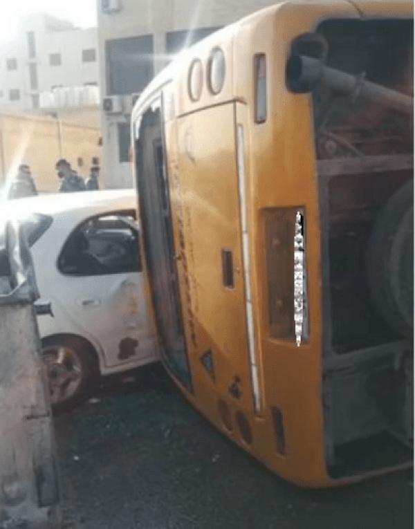 وفاة سائق باص مدرسة خاصة اثر تدهور حافلته في عمان
